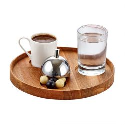 Groovy - Groovy Ahşap Standlı Türk Kahve Servis Takımı Yuvarlak 19x2 Cm